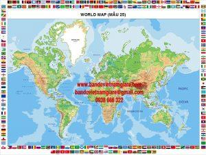 Bản đồ Thế Giới khổ lớn Mẫu 25