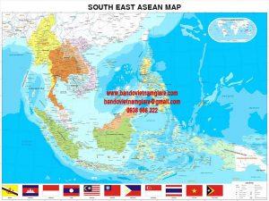 Bản đồ các nước Đông Nam Á tiếng anh khổ lớn