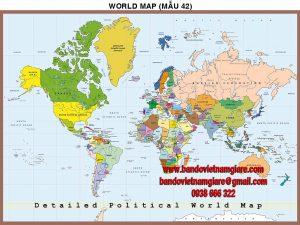 Bản đồ Thế Giới khổ lớn mẫu 42