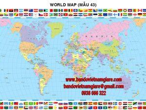 Bản đồ Thế Giới khổ lớn mẫu 43