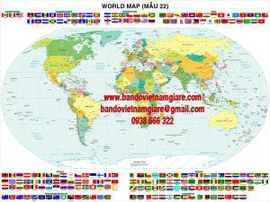 Bản đồ Thế Giới khổ lớn Mẫu 22