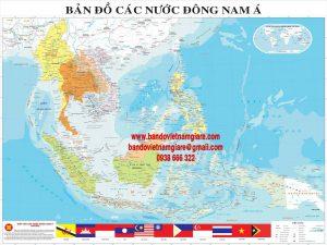 Bán bản đồ hành chính Đông Nam Á khổ lớn treo tường