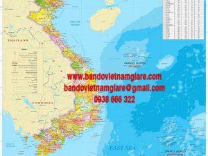 Bán bản đồ Việt Nam tiếng anh khổ lớn giá rẻ đẹp bền