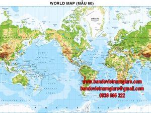 Bản đồ Thế Giới khổ lớn mẫu 60